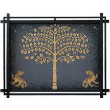 Golden Bo Tree with Lions by Parinya Nanjai Framed Graphic Art