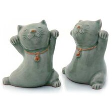 2 Piece Good Luck Cats Figurine Set
