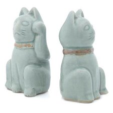 2 Piece Lucky Cats Figurine Set
