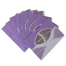 Thai Mulberry Artisans Sky Leaves Environmental Greeting Card (Set of 8)