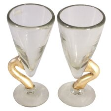 Golden Snake Blown Water Glass (Set of 2)
