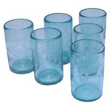 Javier and Efren Flower Etched Glass (Set of 6)