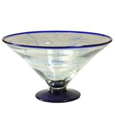 Cantel Blown Glass Artisans Decorative Glass Centerpiece Serving Bowl
