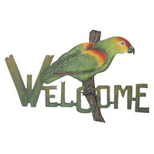 The Alejandro de Esesarte Perky Parrot Welcome Sign Wall Décor