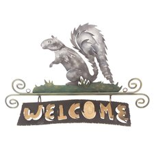 The J Blas Artisan Squirrels Happy Welcome Iron Welcome Sign