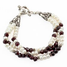 The Narayani Artisan Cultured Pearl and Garnet Pure Love Wristband Bracelet