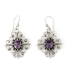 <strong>Novica</strong> The Wayan Asmana Artisan Amethyst Radiant Blossom Flower Earrings