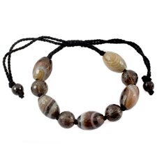 The Nalinee Artisan Smoky Quartz and Agate Indian Tiger Beaded Bracelet