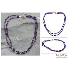 The Narayani Artisan Amethyst Agra Lilac Strand Necklace