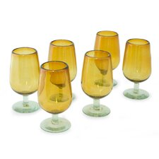 <strong>Novica</strong> The Javier and Efren Blown Glass Goblet (Set of 6)