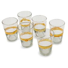 The Javier and Efren Handblown Recycled Striped Glass (Set of 6)