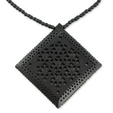 The Chander Kant Ebony Wood Flower Necklace