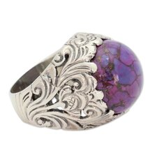 <strong>Novica</strong> The Alok Jain Sterling Silver Turquoise Domed Ring