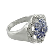 <strong>Novica</strong> The Siddharth Sterling Silver Gemstone Flower Ring