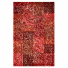 Hides Red Patchwork Area Rug