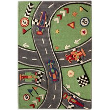 KinderLOOM Race Track Green Kids Rug