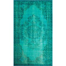 Remade Distressed Overdyed Turquoise Area Rug