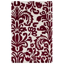 Cine Red Modern Damask Area Rug