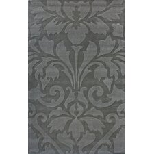 Gradient Damask Grey Area Rug