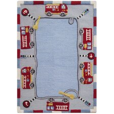 Kinder Jungle Play Blue Area Rug