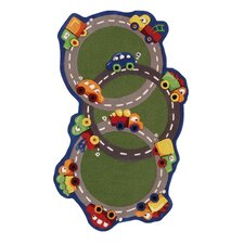 Kinder Traffic Time Green Area Rug
