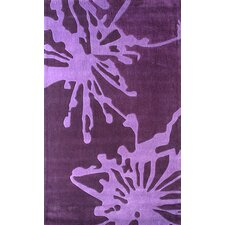 Barcelona Purple Flower Burst Area Rug
