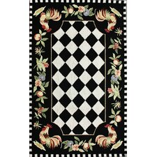 Rooster Black Novelty Area Rug
