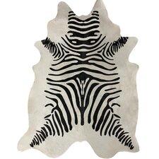 Zebra Print Cowhide Black & White Rug