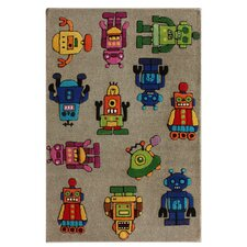 KinderLOOM Robot I Gray Area Rug