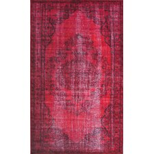 Remade Distressed Overdyed Red Area Rug