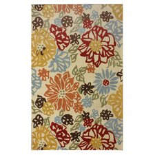 Marbella Bold Leaves Ikat  Area Rug