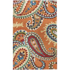 Modella Orange Whimsy Paisley Rug