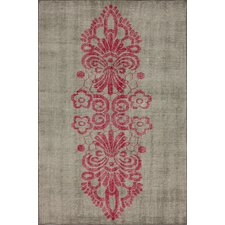 Overdye Pink Tribal Damask Rug
