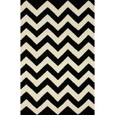 Moderna Black Chevron Area Rug