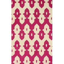 Moderna Pink Ikat Trellis Area Rug