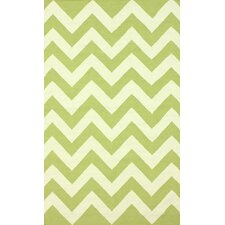 Moderna Green Chevron Area Rug