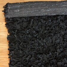 Leather Shag Black Rug