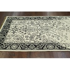 Ayers White Washed Damask Fringe Rug