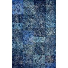 Hides Blue Patchwork Area Rug