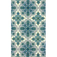 Fancy Blue/Ivory Stars Area Rug