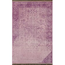 Ayers Purple Washed Damask Fringe Rug