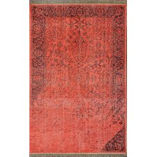 Ayers Red Washed Damask Fringe Rug