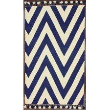 Flatweave Navy/White Wave Border Area Rug