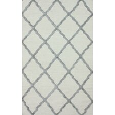 Flatweave Grey Drawn Trellis Rug