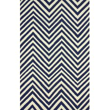Flatweave Navy Blue Retro Chevron Area Rug