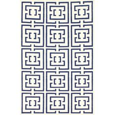 Flatweave Navy Locking Squares Area Rug