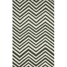 Flatweave Grey Retro Chevron Area Rug