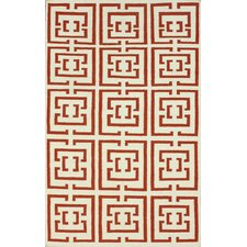 Flatweave Red Locking Squares Rug
