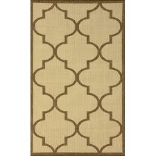 Villa Outdoor Taupe Double Trellis Rug