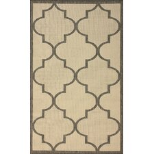Villa Outdoor Grey Double Trellis Rug